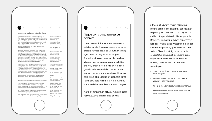 shows the differences between page layouts on desktop and mobile