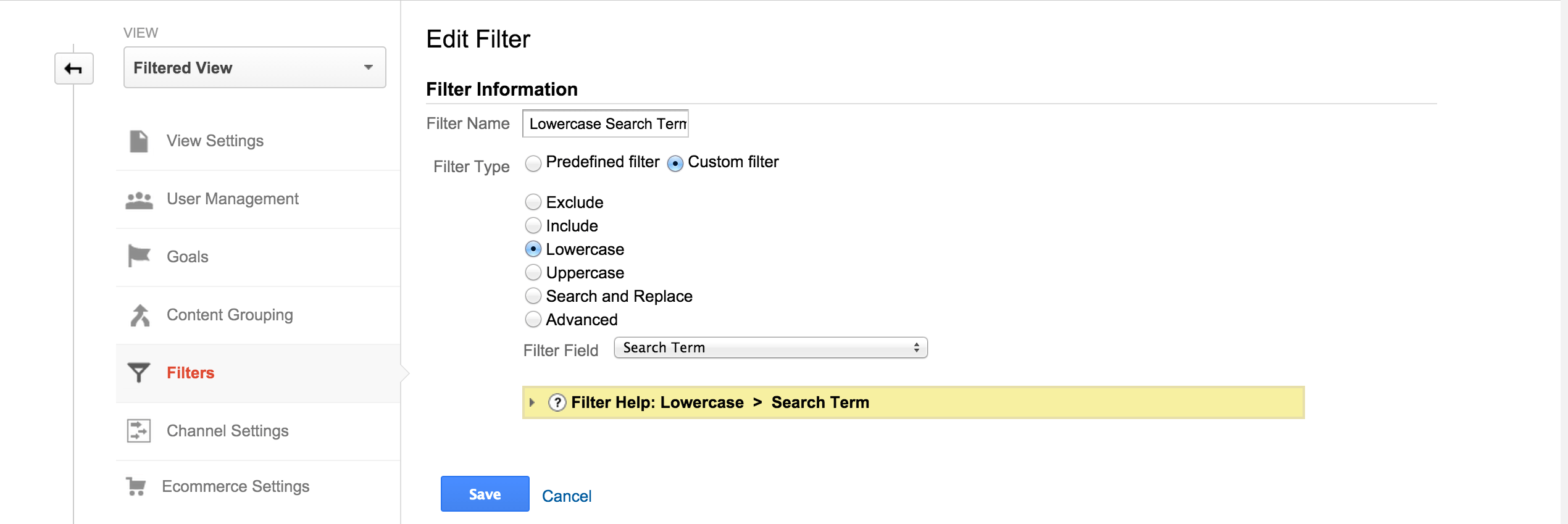 how to use sub directory filter in google analytics