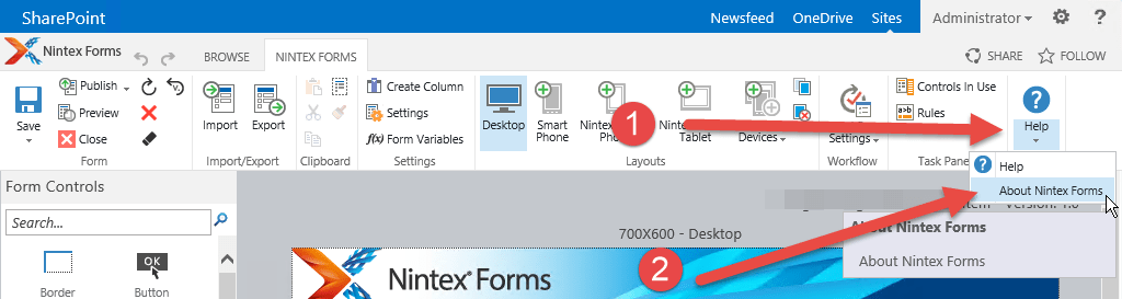 In the ribbon select Help, About Nintex Forms.