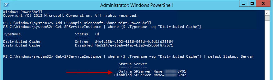 Checking with PowerShell, Distributed Cache exists, but is disabled.