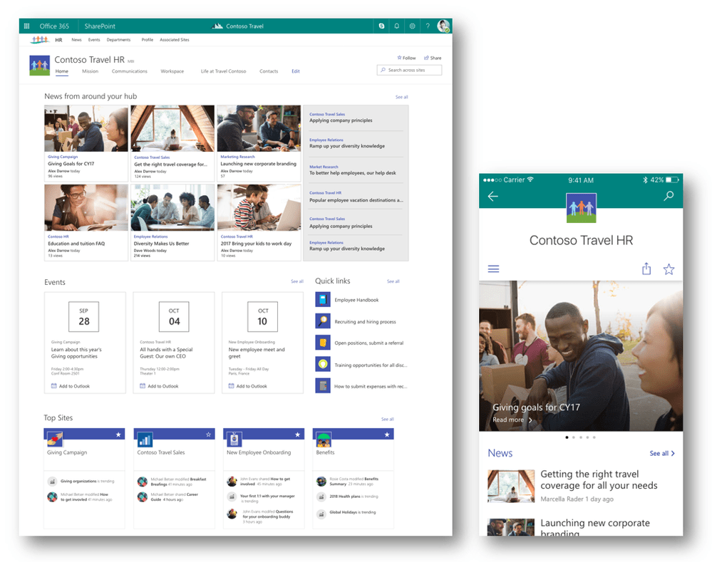 Common use cases for Office 365 SharePoint hub sites
