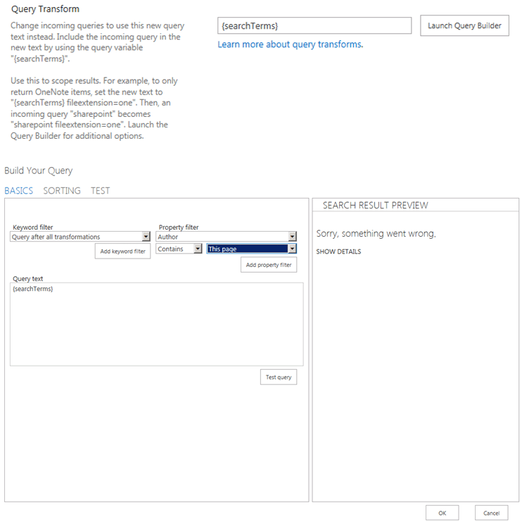 Screenshot of the query transform property of a resource source in SharePoint 2013