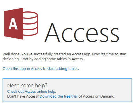 Access start adding tables