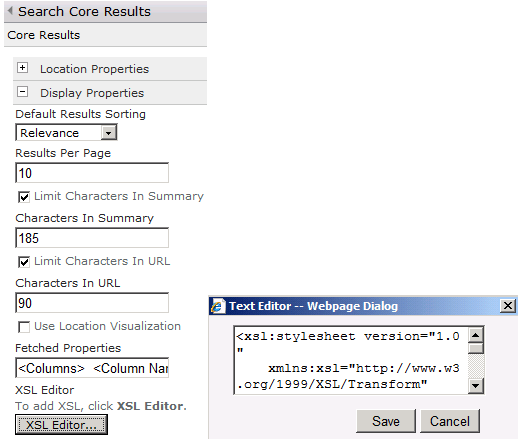 Screenshot of the XSL editor configuration on the Search Core Results web part