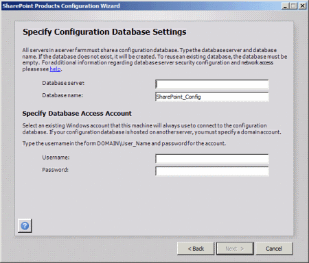 SharePoint Configuration Wizard - Specify Configuration Database Settings