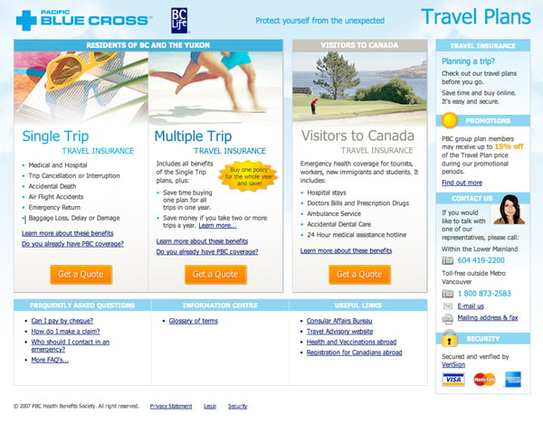 Pacific Blue Cross Travel App Homepage