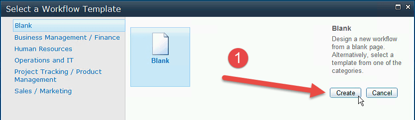 Select the default Blank page and click Create.